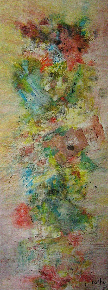 Gouache und Wandfarbe auf Packpapier 50x170
