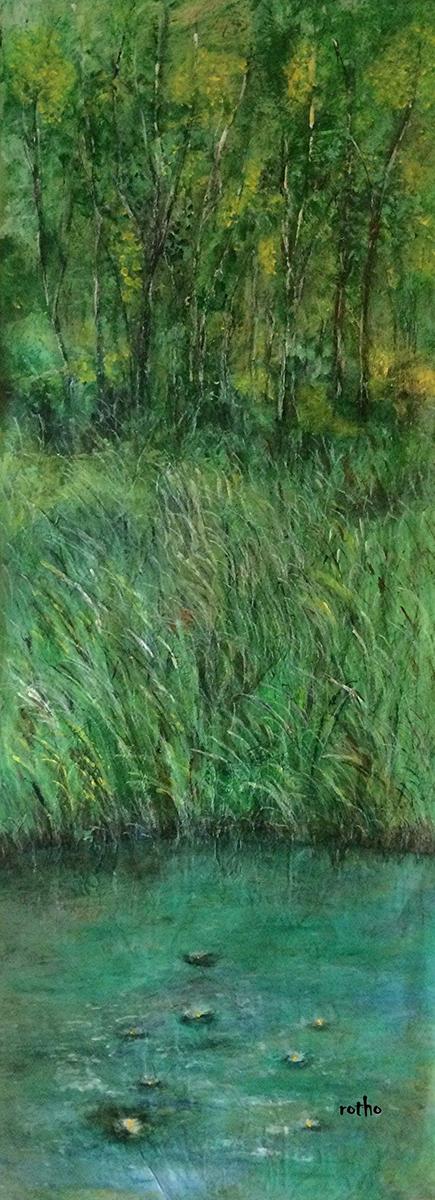 Gouache Wandfarbe und Kreide auf Packpapier 50x170